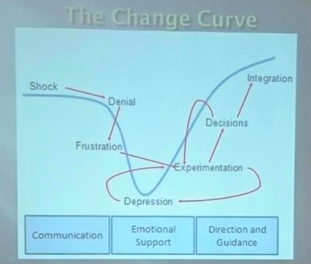 Change curve showing different change phases