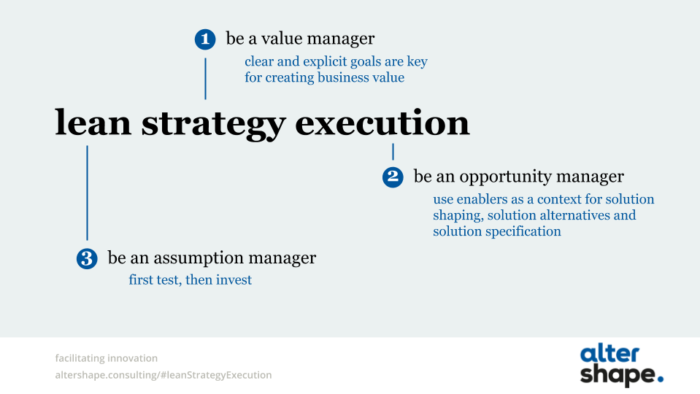 Be a value manager - Be an opportunity manager - Be an assumption manager