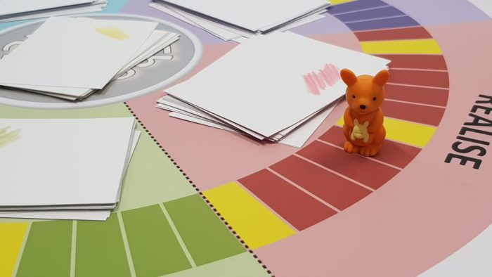 Board game with kangaroo as player's figure